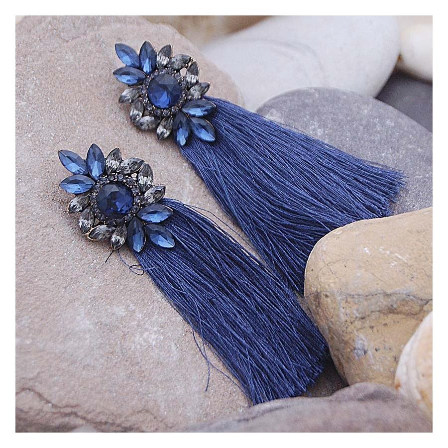 Pendientes azules de flecos lux